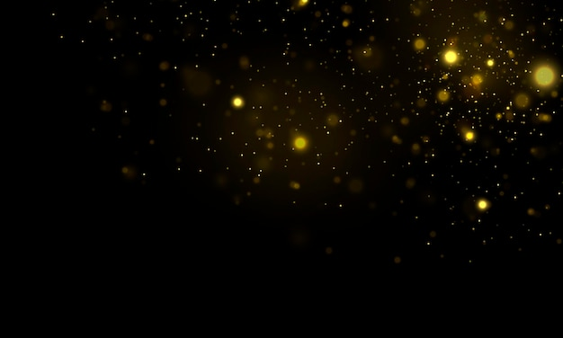 반짝이는 마법의 먼지 입자 defocused 노란색 조명 빛나는 노란색 bokeh 원 벡터
