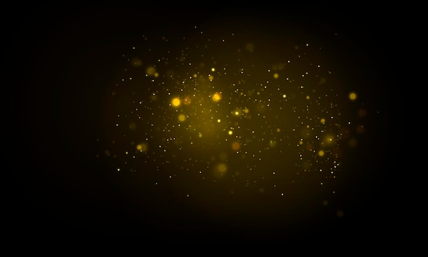 きらめく魔法のほこりの粒子は、黄色のボケ円のベクトルを光る黄色のライトの焦点をぼかす