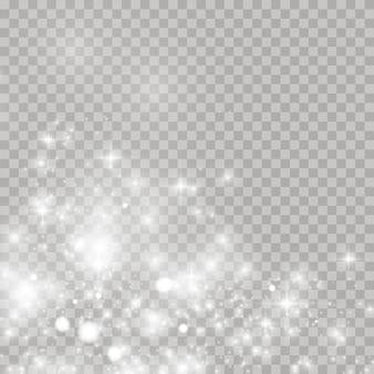 Сверкающие частицы волшебной пыли. светящийся световой эффект с множеством частиц блеска, изолированных на прозрачном фоне. рождественский абстрактный узор.