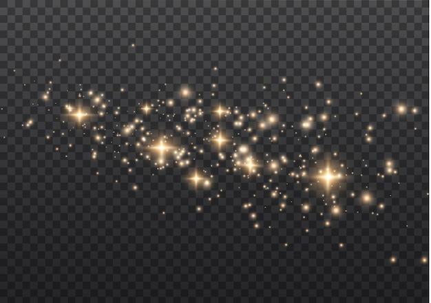 きらめく魔法のほこりの粒子。光の効果、レンズフレア。