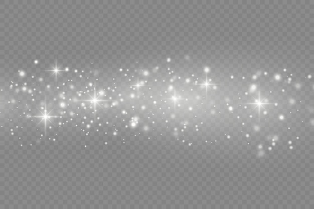 Sparkling magical dust particles on transparent background.