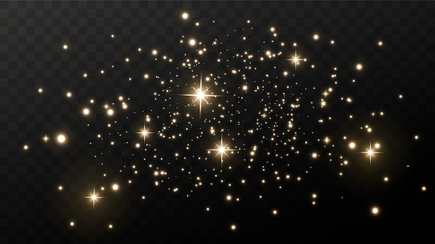 Sparkling magical dust. on a textural black background. celebration abstract background made of golden glittering dust particles. magical effect. golden stars.