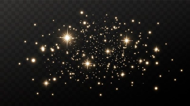 Sparkling magical dust. on a textural black and white background. celebration abstract background made of golden glittering dust particles. magical effect. golden stars.
