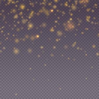 반짝이는 마법의 금 먼지 입자 밝은 빛 광선 bokeh 배경 반짝이 입자 벡터