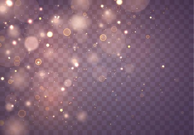 きらめく魔法の金黄色のほこりの粒子。魔法の概念。ボケ効果のある抽象的な透明な背景。ベクター