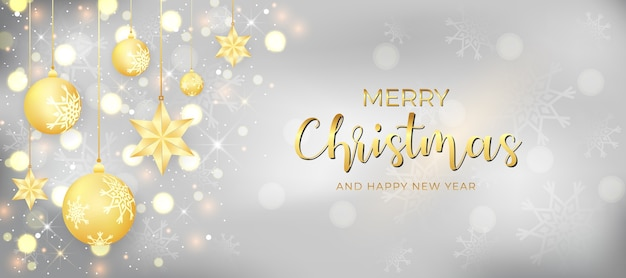 Sparkling merry christmas and happy new year banner with decorated christmas ball and lighting