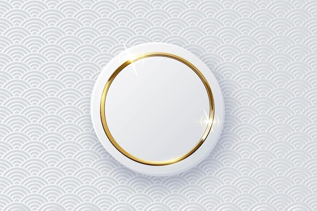 分離された白いボタンに輝く光沢のある輝く金の指輪