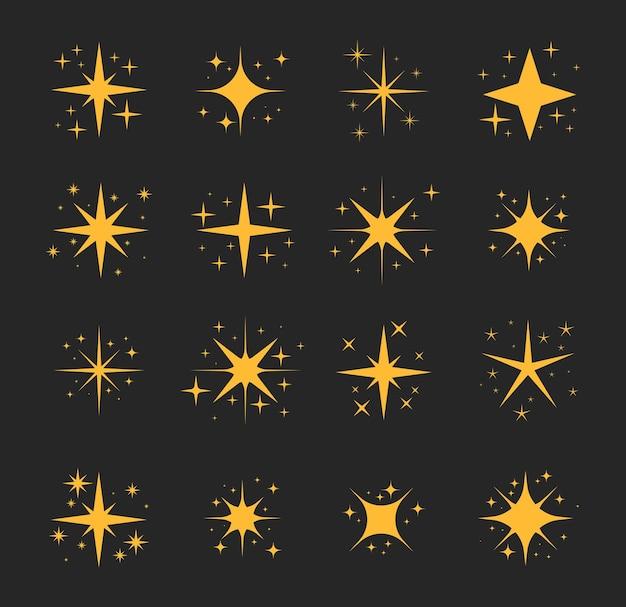 반짝 반짝 빛나는 별 세트 반짝 반짝 빛나는 별 입자 반짝이 반짝임과 마법의 반짝임
