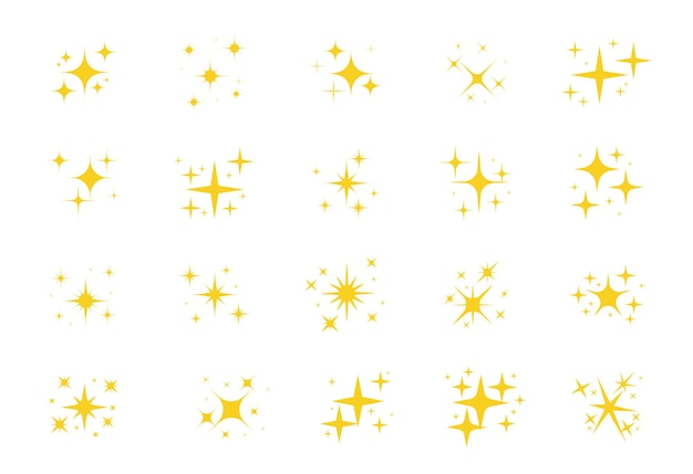 Sparkling stars. a shimmering yellow star and glittering element on white background.