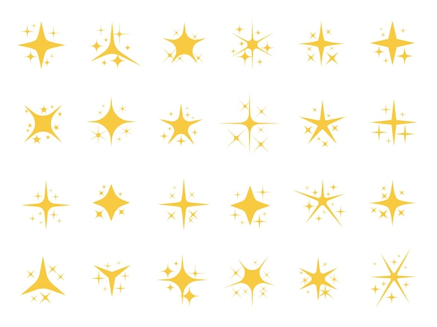 Sparkling stars. shiny sparks, glitter light star and sparkle elements