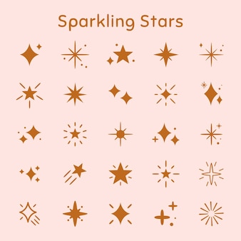 Sparkling stars vector icon set in flat brown style