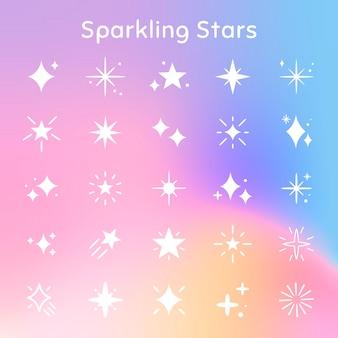 Set di icone vettoriali di stelle scintillanti in stile piatto