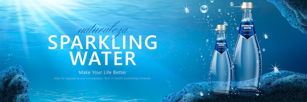 Sparkling water banner   with product under water
