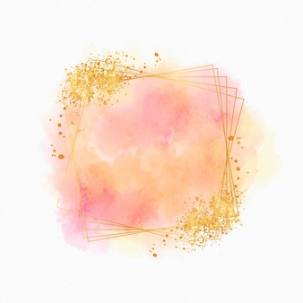 Sparkling watercolor golden frame