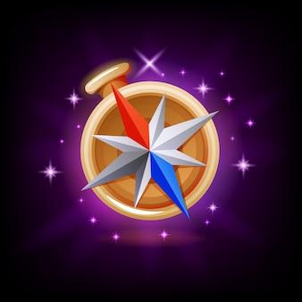 Блестящий компас с игровым интерфейсом или значок мобильного приложения на темном