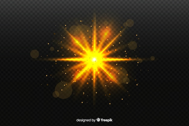 Sparkly explosion particles effect on transparent background