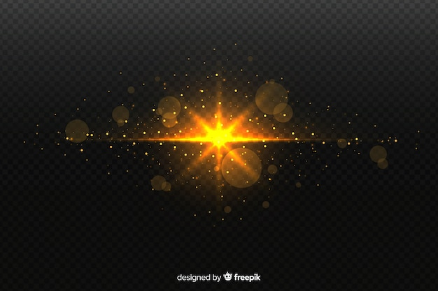 Sparkly explosion particles effect with transparent background