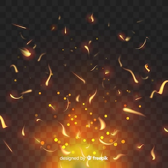 Sparkly fire effect on transparent background