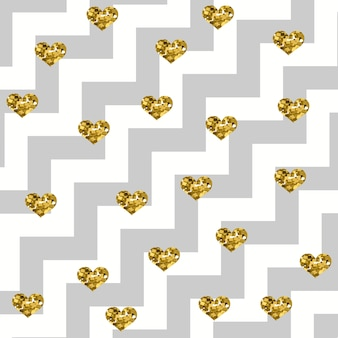 Sparkly glam golden hearts on a diagonal zigzag pattern