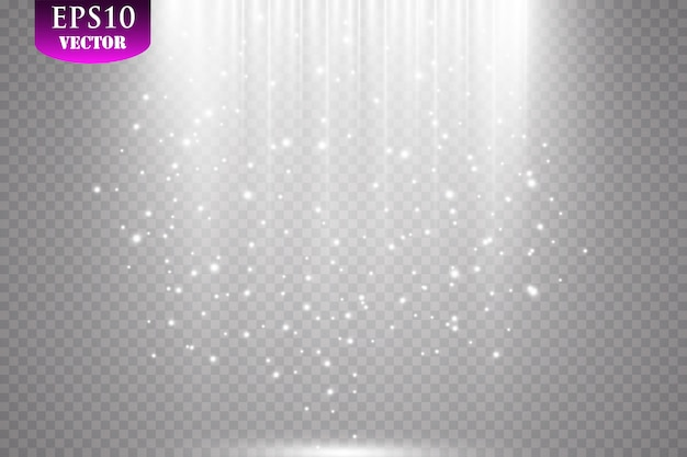 스파크와 반짝이 특수 조명 효과. 투명 배경에 반짝임. 반짝이는 마법 가루 입자