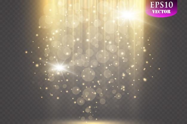 Искры и блеск специальный световой эффект. сверкает на прозрачном фоне. сверкающие частицы волшебной пыли