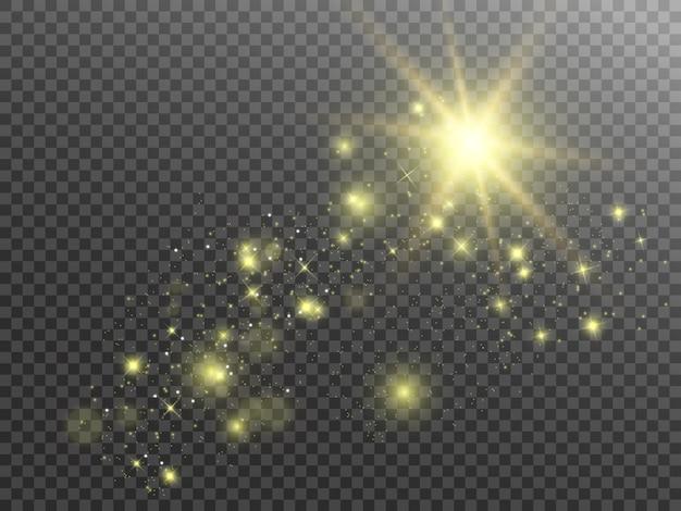 스파크와 황금 별이 반짝이는 특수 조명 효과. 투명 배경에 반짝임. 추상 패턴입니다. 반짝이는 마법 가루 입자