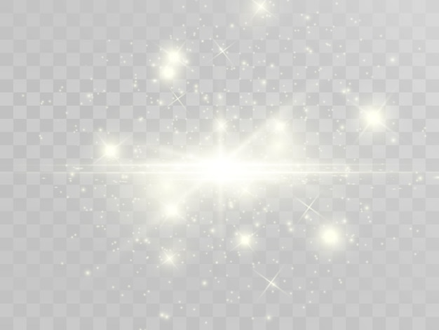 스파크와 황금 별이 반짝이는 특수 조명 효과. 투명 배경에 반짝임. 크리스마스 추상 패턴입니다. 반짝이는 마법 가루 입자