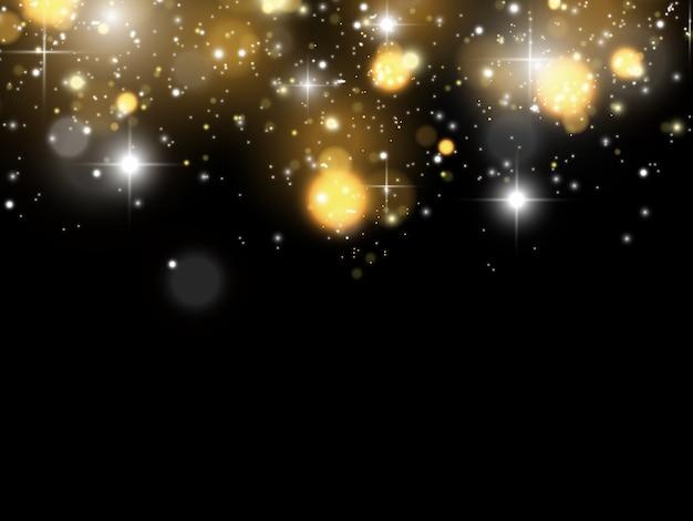 Искры и золотые звезды сверкают особым световым эффектом. сверкает на прозрачном фоне. сверкающие частицы волшебной пыли.