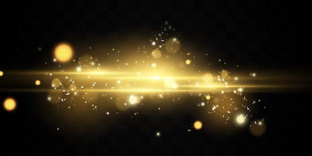 火花と金色の星が特別な光の効果を輝かせます。透明な背景にきらめきます。