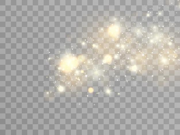스파크와 황금 별이 반짝이는 특수 조명 효과.