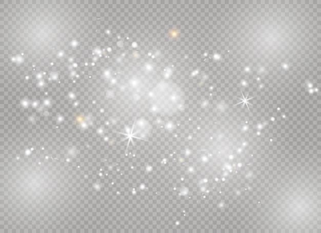 스파크와 별이 반짝이는 특수 조명 효과. 반짝이는 마법의 먼지 입자.