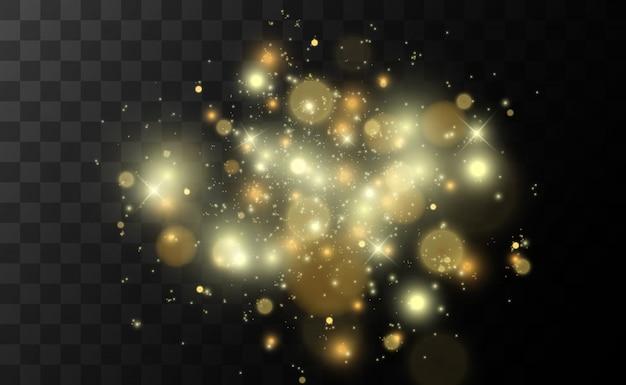 火花キラキラ特殊光効果。分離された輝き。きらめく魔法のダスト粒子。ボケ効果。