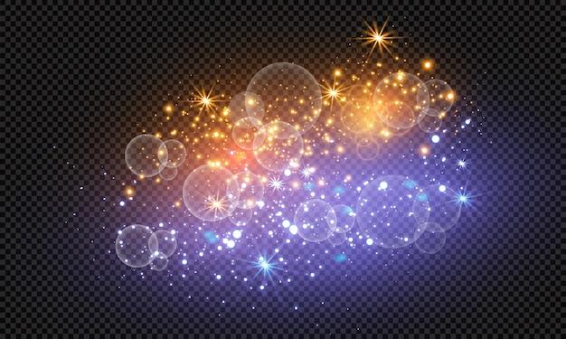 스파크 반짝이 특수 조명 효과. 반짝이는 마법의 먼지 입자.