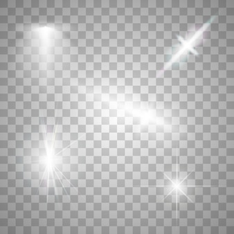 Sparks isolated. vector glowing stars. lens flares and sparkles
