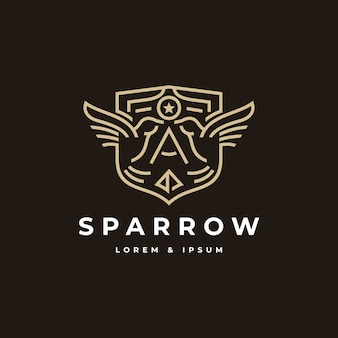 Sparrow badge with line art style