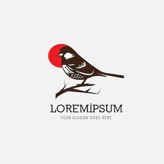 スズメの鳥のヴィンテージロゴ
