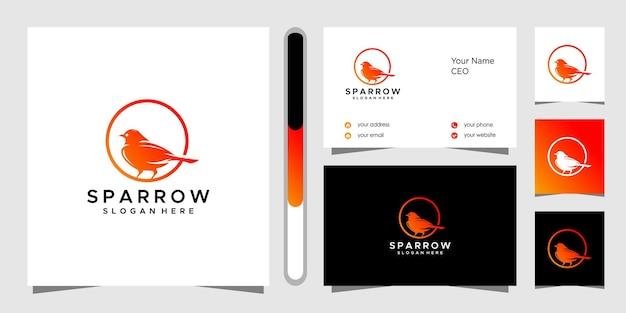 Дизайн логотипа воробей и визитная карточка