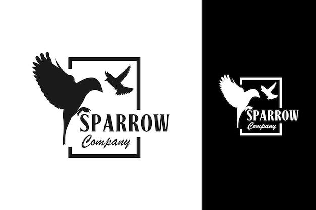 Sparrow logo in square icon emblem badge design inspiration