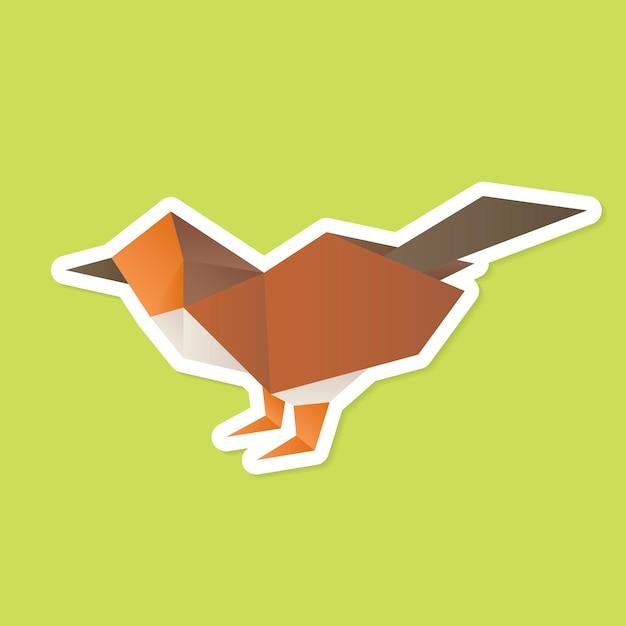 Poligono di carta origami passero