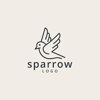 Воробьи логотип с простой стиль линии
