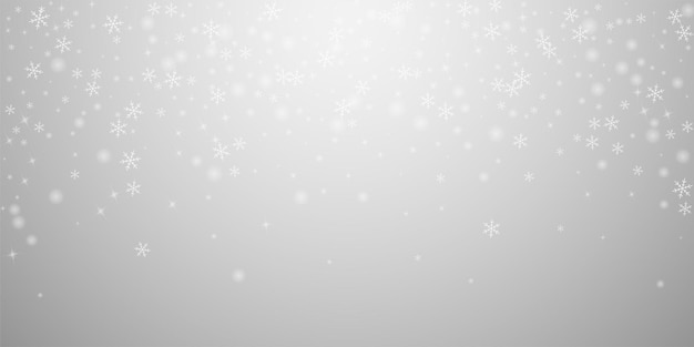 Sparse glowing snow christmas background. subtle flying snow flakes and stars on light grey background. actual winter silver snowflake overlay template. elegant vector illustration.