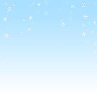 Sparse snowfall christmas background. subtle flying snow flakes and stars on winter sky background. bizarre winter silver snowflake overlay template. likable vector illustration.