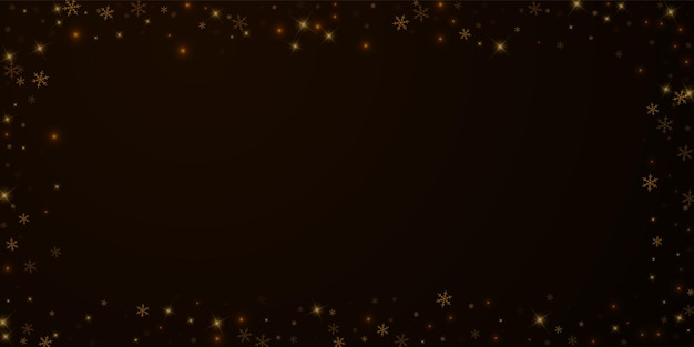 Sparse starry snow christmas overlay. christmas lights, bokeh, snow flakes, stars on night background. luxury actual sparkling overlay template. noteworthy vector illustration.