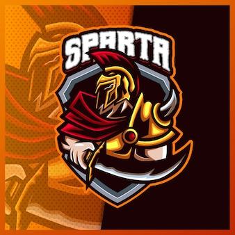 스파르타 신 바이킹 검투사 전사 마스코트 esport 로고 디자인 일러스트레이션 벡터 템플릿, 팀 게임 스트리머 유튜버 배너 트위치 불화, 풀 컬러 만화 스타일을 위한 로마 기사 로고