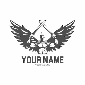 Spartan angel with two sword logo illustration
