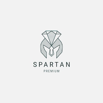 Шаблон дизайна логотипа spartan diamond line art