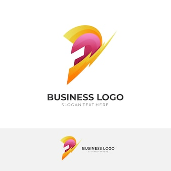 Спартанский флэш-логотип, шлем и гром, комбинированный логотип с трехмерным красным и желтым цветовым стилем