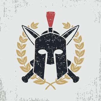 質素なヘルメット、交差した剣、月桂樹の花輪-服、tシャツ、アパレル、ロゴのグラフィックデザイン。ベクトルイラスト。
