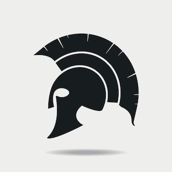 スパルタンヘルメットアイコン。グラディエーター、レジオネアのためのギリシャまたはローマのヘッドアーマー。ベクトルイラスト。