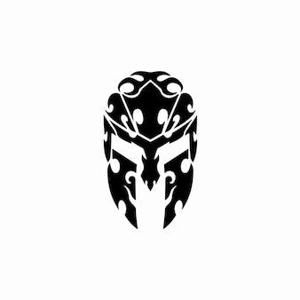 Spartan helmet logo tribal tattoo design stencil vector illustration